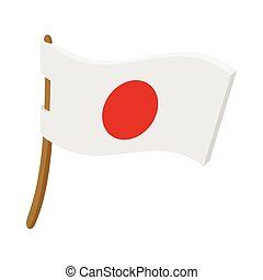 Japanese country flag icon, cartoon style - Japanese country...