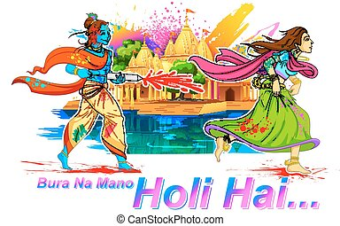 Radha and Lord Krishna playing Holi - llustration of Radha...