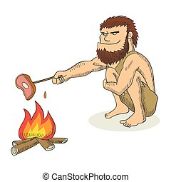 Cartoon illustration of a caveman cooking meat on fire