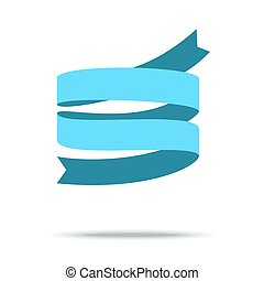 Blue ribbon isolated on white background. Vector Illustration
