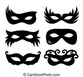 Vector illustration festive masks silhouette in black on a...
