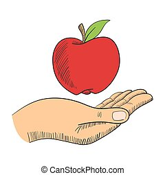 Illustration of a hand with an appl