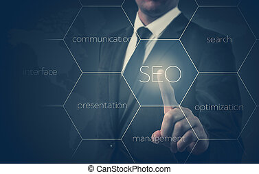 Search optimization business pointing finnger selecting seo