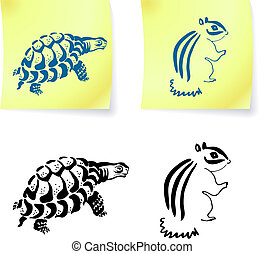 turtle and chipmonk drawings on post it notes