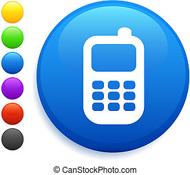 cell phone icon on round internet button
