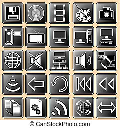 Set darkly - white buttons with web icons for the internet 3...