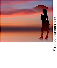 classy and sexy woman with umbrella internet sunset background