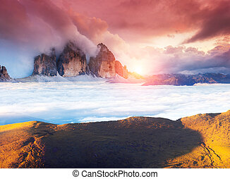Amazing sunset in the mountains - Great view of the foggy...