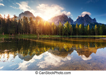Italian dolomites - Great view of the foggy Lago Di Antorno...