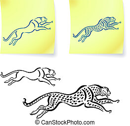 Jaguar and leopard drawings on post it notes original vector...