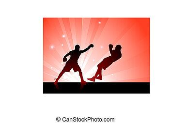 boxing on red background