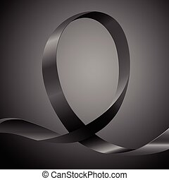 Awareness Black Ribbon - Black ribbon, background template...