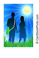 Traveling couple on sunny summer background