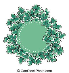 St. Patricks day card. Hand drawn clovers and label with...
