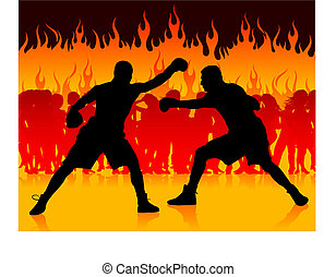 boxer championship on internet fire background