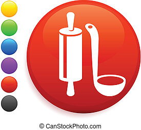 cooking equipment icon on round internet button