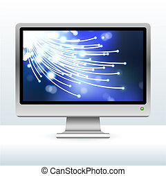 computer monitor with fiber optic internet background -...