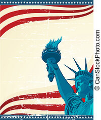 Freedom - A grunge poster with the statue of liberty