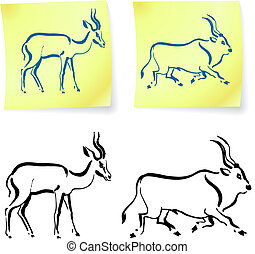 Wild animals drawings on post it notes original vector...