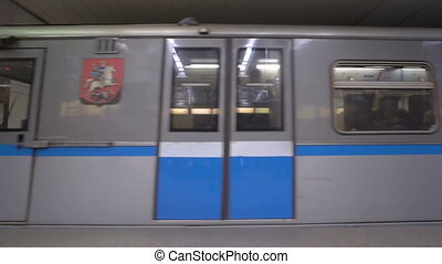 Subway train arrives at Moscow metro station