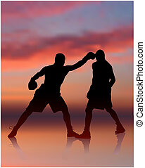 boxing on sunset background