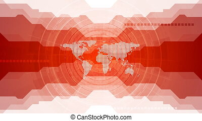 Red tech video animation with gear and world map - Red tech...