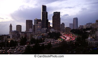 Rush Hour Seattle Interstate 5 Cuts Through Downtown City...