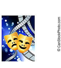 Original Vector Illustration: comedy and tragedy masks with film reel blue internet background AI8 compatible