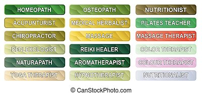 Alternative Therapy Buttons - A collection of alternative...