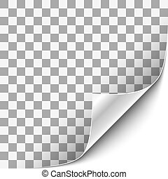 Curled Corner with White Background - Transparent background...