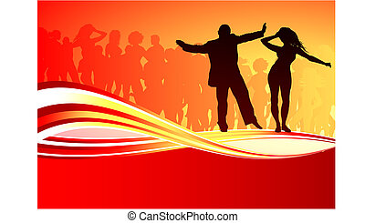 Sexy young couple dancing on summer party background