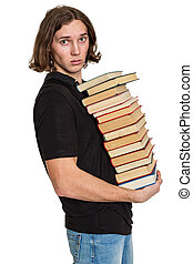 Young student with a pile of books, isolated on white...