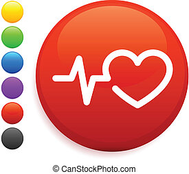 heart rate icon on round internet button
