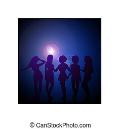 Sexy young women dancing on vector lens flare