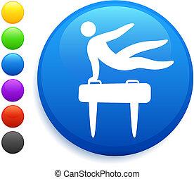 pommel horse icon on round internet button original vector...