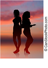 Sexy girls dancing with sunset internet background