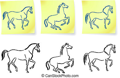 horses on post it notes original vector illustration 6 color...
