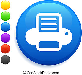 printer icon on round internet button original vector...