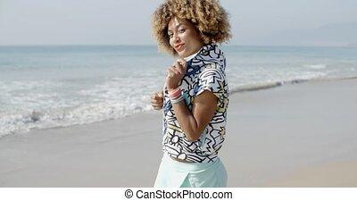 Woman Having Fun On The Beach - Woman having fun and...