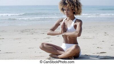 Serene Relaxed Female Yoga Instructor - Girl in white bikini...