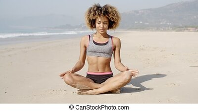 Meditating On The Sea Coast - Girl meditating on the sea...