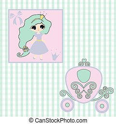 sweet little Princess  announcement  baby shower, fairytale Cartoon Illustration carriage Princess, vintage baby stroller invitation or card on the birthday, vector background illustration