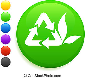 recycle icon on round internet button