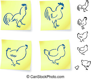 rooster and chickens on post it notes