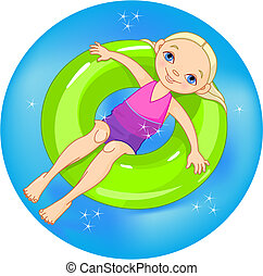 Girl at the pool - Very cute girl on a green lifesaver