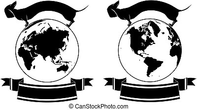 set of globe and dog - set of vector backgrounds with globe...
