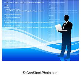 computer programmer on blue wave internet background