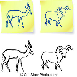 wild ram and gazelle on post it notes original vector...