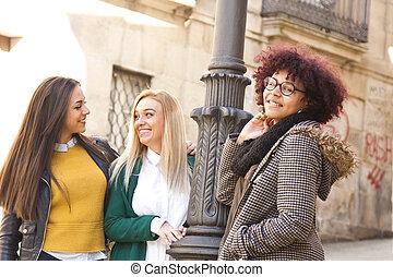junger, Gruppe,  Multiethnic, frauen
