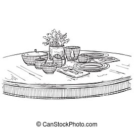 Table setting set Weekend breakfast or dinner Hand drawn...